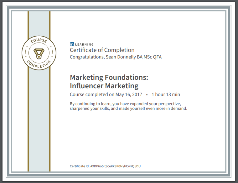 Influencer Marketing, Certificate, Sean Donnelly